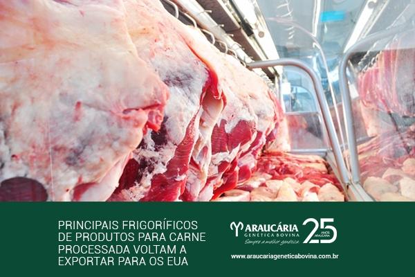 Principais frigoríficos de produtos para carne processada voltam a exportar para os EUA
